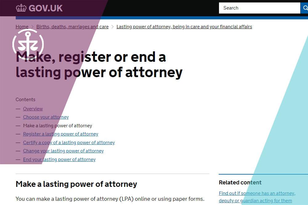 Gov UK online LPA form