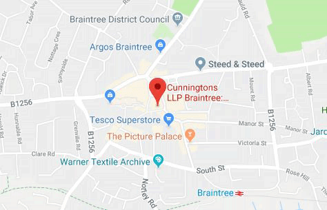 Map of Cunningtons Braintree Solicitors: Conveyancing, Wills, Litigation and Family Law branch