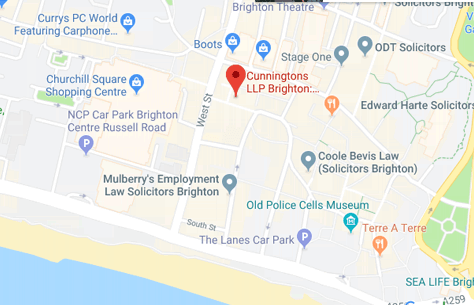 Map of Cunningtons Solicitors in Brighton branch