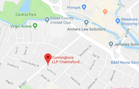 Map of Cunningtons Chelmsford Conveyancing and Family Law Solicitors branch