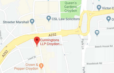 Map of Cunningtons Croydon Conveyancing Solicitors branch