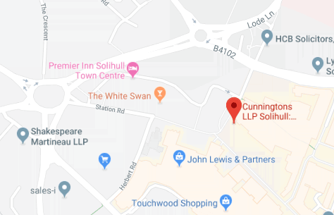 Map of Cunningtons Solihull Conveyancing Solicitors branch