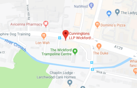 Map of Cunningtons Wickford Solicitors: Conveyancing, Wills and Family Law branch