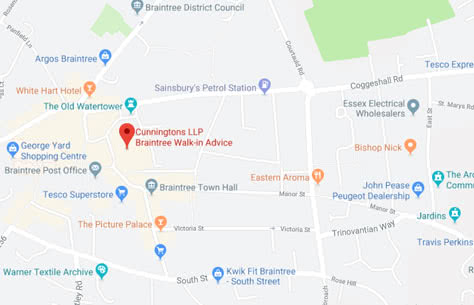 Map of Cunningtons Braintree Advice Centre branch