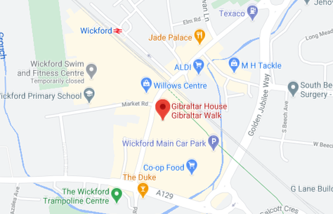 Map of Cunningtons Wickford Solicitors: Conveyancing, Wills, Family Law branch